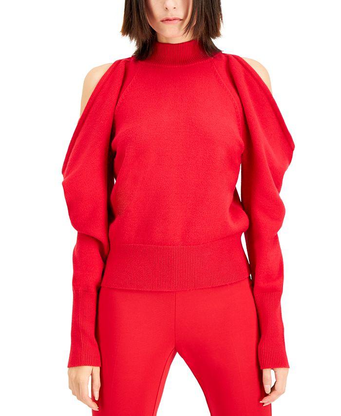 INC International Concepts - Plus Size Cold-Shoulder Bow-Back Sweater
