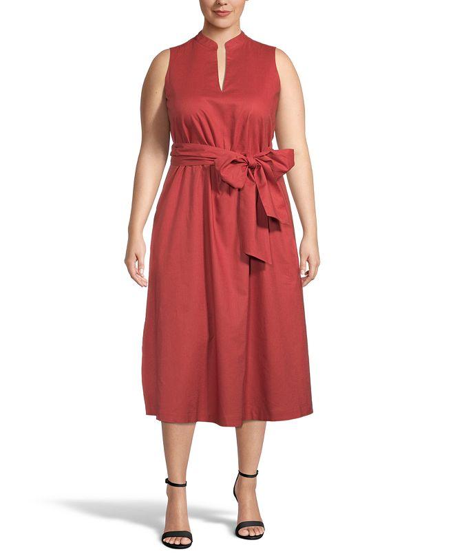 Anne Klein Plus Size Belted Midi Dress