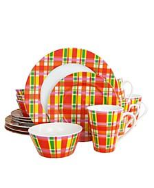 Oui By Plaid 16 Piece Round Porcelain Dinnerware Set