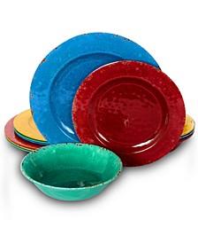 Mauna 12 Piece Crackle Decal Melamine Dinnerware Set
