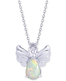 "Simulated Opal & Cubic Zirconia Angel Wing 18"" Pendant Necklace in Sterling Silver"