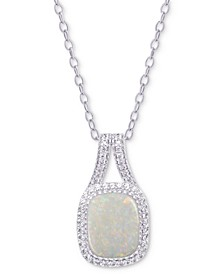 "Simulated Opal & Cubic Zirconia 18"" Pendant Necklace in Sterling Silver"