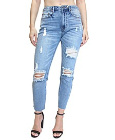 Juniors' Destructed High-Rise Mom Jeans