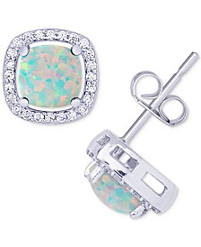 Simulated Opal & Cubic Zirconia Cushion Stud Earrings in Sterling Silver