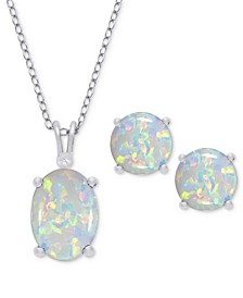 2-Pc. Set Simulated Opal Pendant Necklace & Stud Earrings in Sterling Silver
