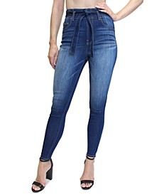 Juniors' Belted Super High-Rise Skinny Jeans