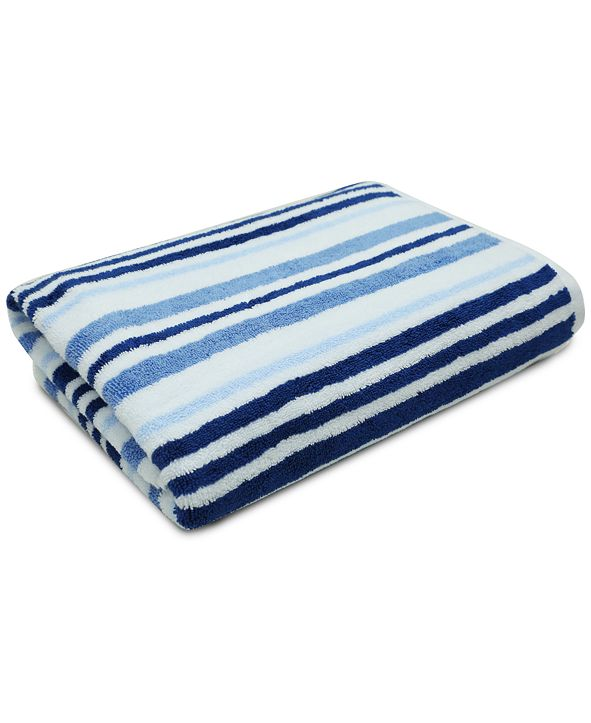 "Charter Club Elite Cotton Tri-Stripe 30"" x 56"" Bath Towel, Created for Macy's"