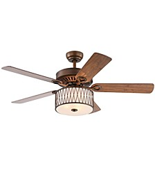 "Jan 52"" 3-Light Indoor Remote Controlled Ceiling Fan with Light Kit"