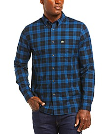 Men's Checked Pattern Cotton Twill Shirt