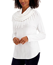Style & Co Fringe Cowl-Neck Sweater, Created for Macy's