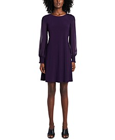 Smocked Sheer-Sleeve A-line Dress