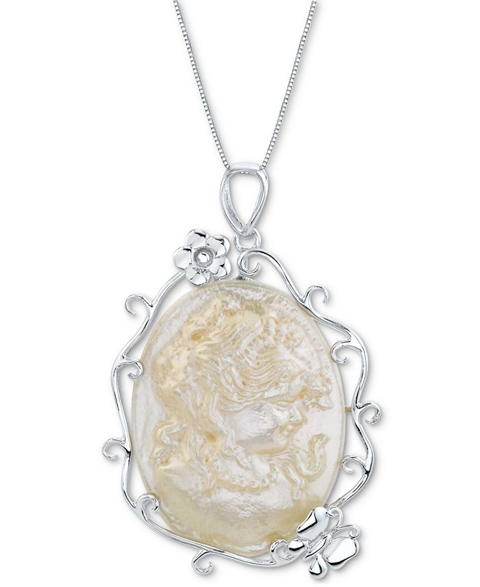 """Macy's - Cultured Freshwater Cameo Pearl (42x32mm) 18"""" Pendant Necklace in Sterling Silver"""