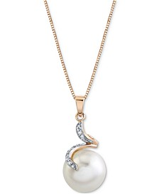 "Cultured Freshwater Button Pearl (12mm) & Diamond Accent 18"" Pendant in 14k Rose Gold"