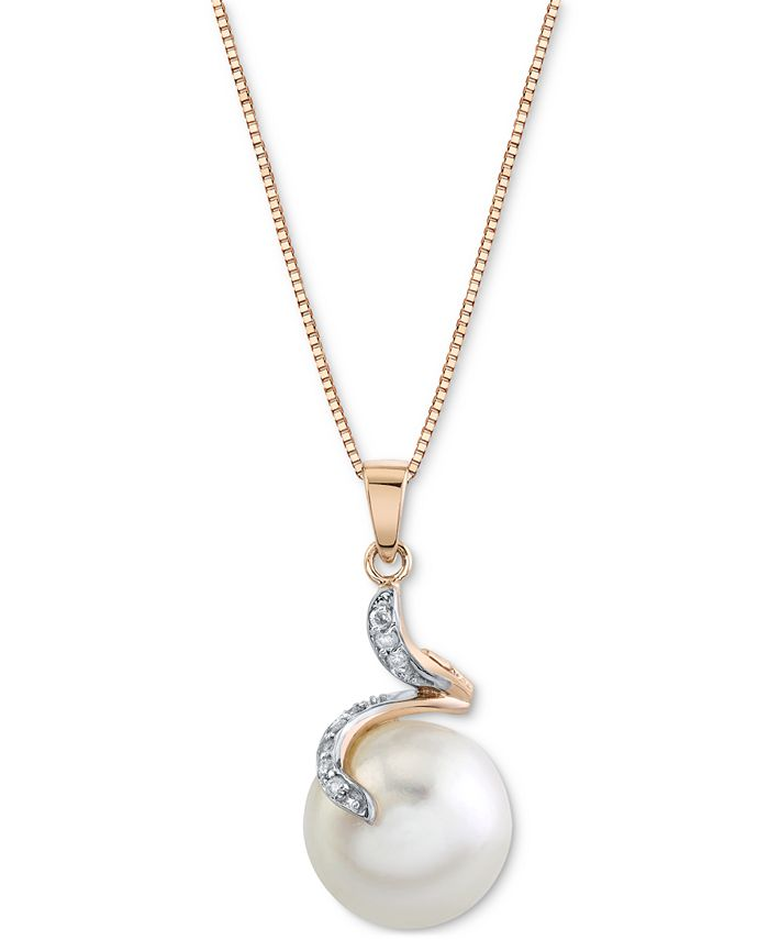 """Macy's - Cultured Freshwater Button Pearl (12mm) & Diamond Accent 18"""" Pendant in 14k Rose Gold"""