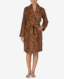 Plush Leopard-Print Wrap Robe