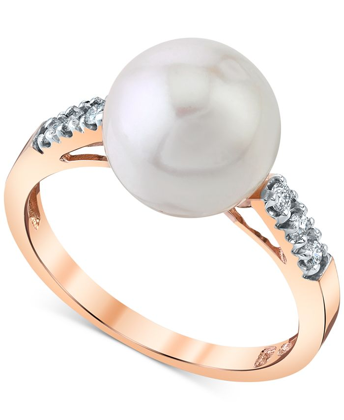 Macy's - Cultured Freshwater Round Pearl (9-1/2-10mm) & Diamond (1/8 ct. t.w.) in 14k Rose Gold