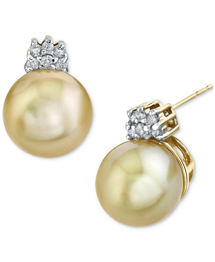 Macy's - Cultured Golden South Sea Pearl (10mm) & Diamond (1/5 ct. t.w.) Stud Earrings in 14k Gold
