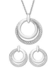 2-Pc. Set Diamond Double Circle Pendant Necklace & Drop Earrings (1/6 ct. t.w.) in Sterling Silver