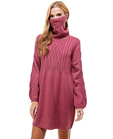 Juniors' Cable-Knit Sweater Dress and Mask