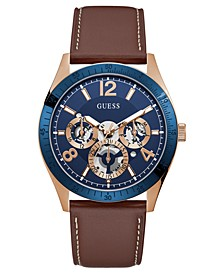 Men's Brown Leather Strap Watch 43mm