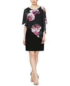 Embellished Floral-Overlay Sheath Dress
