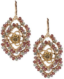 Gold-Tone Crystal Evil Eye Beaded Statement Earrings