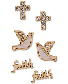 Gold-Tone 3-Pc. Set Crystal & Mother-of-Pearl Faith Stud Earrings