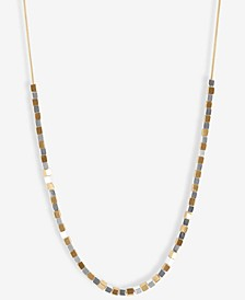 "Two-Tone Square-Beaded Strand Necklace, 32"" + 2"" extender"