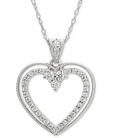 "Diamond Open Heart 18"" Pendant Necklace (1/5 ct. t.w.) in 14k White Gold"