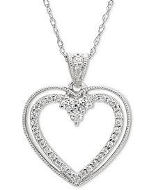 "Diamond Open Heart 18"" Pendant Necklace (1/5 ct. t.w.) in 14k White Gold"
