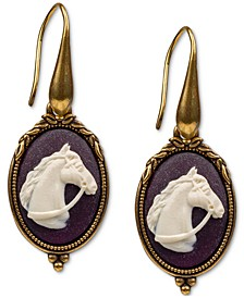 Gold-Tone Horse Cameo Drop Earrings