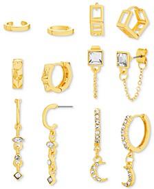 Gold-Tone 6-Pc. Set Crystal Huggie Hoop Earrings