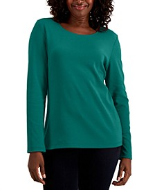 Petite Cotton Scoop-Neckline Top, Created for Macy's