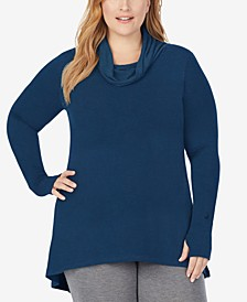 Plus Size Softwear With Stretch Long-Sleeve Cowlneck Tunic