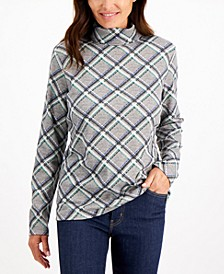 Petite Plaid Glitter-Detail Turtleneck, Created for Macy's