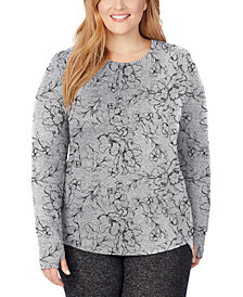 Cuddl Duds Plus Size Soft Knit Long-Sleeve Crewneck Top