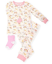 Baby and Toddler Girls 2-Piece Pajama Set with Socks