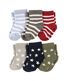 Baby Boys and Girls Star Stripes Socks Set, Pack of 6