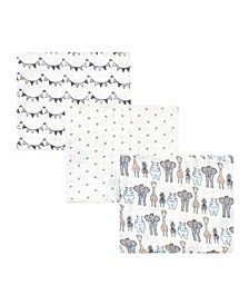 Boys and Girls Safari Muslin Swaddle Blankets, Pack of 3