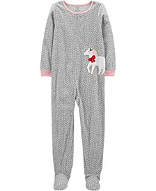 Big Girls 1-Piece Unicorn Fleece Footie Pajamas