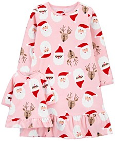 Toddler Girls Santa Matching Nightgown and Doll Nightgown Set