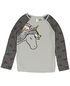 Little Girls Long Sleeve Flip Sequin Unicorn Snit Top
