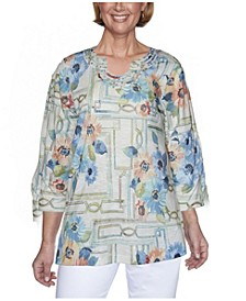 Women's Windowpane Floral Misses Top