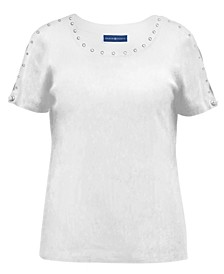 Plus Size Stud-Trim Top, Created for Macy's