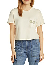 Juniors' Cropped Pocket T-Shirt