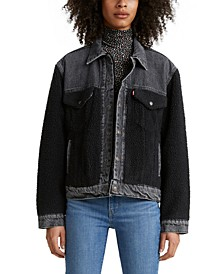 Pieced Fleece & Denim Trucker Jacket