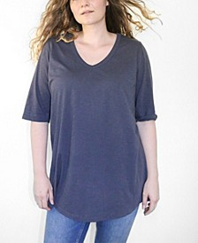 Women's Plus Size CloudSoft Elbow Sleeve V-Neck Tunic