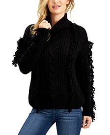 Cowl-Neck Loop-Fringe Sweater