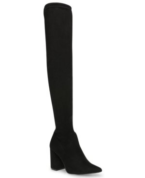 Play the long game with Steve Madden\\\'s Jacoby thigh-high over-the-knee boots, the beautifully shaped basis of a well-planned look.