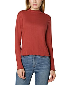 Juniors' Pointelle-Knit Mock-Neck Top